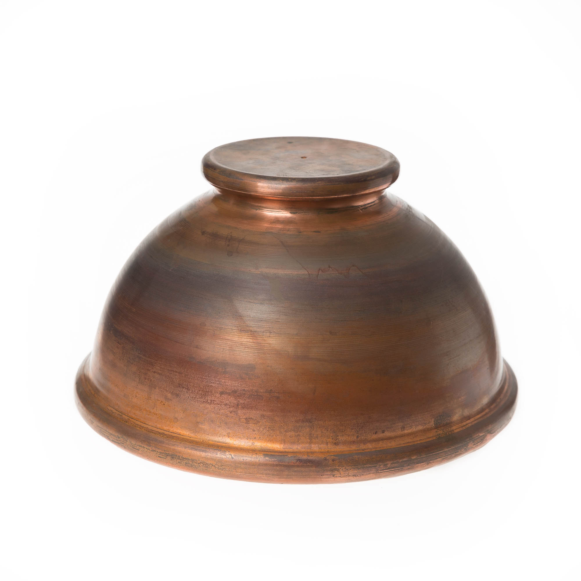 metal spinning sample round bowl red brass on top bottom sight